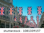 british union jack flags in... | Shutterstock . vector #1081339157