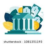 vector flat illustration  bank... | Shutterstock .eps vector #1081351193