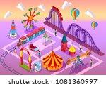 amusement park with a railway ... | Shutterstock .eps vector #1081360997