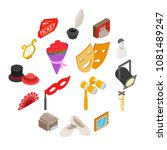 theatre icons set in isometric... | Shutterstock .eps vector #1081489247