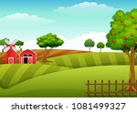 Farm Landscape With Shed And...
