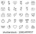 thin line icon set   rose... | Shutterstock .eps vector #1081499957