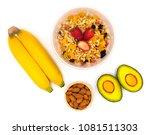 concept diet plan and breakfast ... | Shutterstock . vector #1081511303