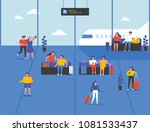 people waiting at the airport... | Shutterstock .eps vector #1081533437