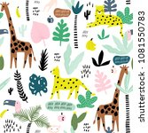 Seamless Pattern With Giraffe ...