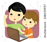 boys playing computer games... | Shutterstock .eps vector #108155957