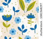 seamless pattern with flowers... | Shutterstock .eps vector #1081568297