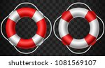 life buoy icon red and white on ... | Shutterstock .eps vector #1081569107
