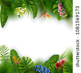 green summer with tropical... | Shutterstock .eps vector #1081569173
