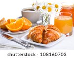 breakfast with croissants ... | Shutterstock . vector #108160703