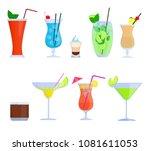 tropical cocktails  juice ... | Shutterstock .eps vector #1081611053