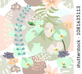 elegant botanical print with... | Shutterstock .eps vector #1081635113