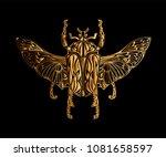 exotic golden beetle isolated... | Shutterstock .eps vector #1081658597