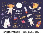Stock vector big set of cute funny animal astronauts in space with planets stars quotes isolated objects on 1081660187