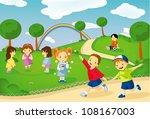 children in the park | Shutterstock .eps vector #108167003