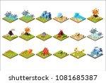 volcano eruption set  different ...   Shutterstock .eps vector #1081685387