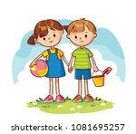 vector sketch of boy and girl   Shutterstock .eps vector #1081695257