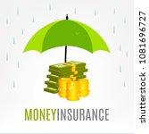 money under umbrella vector... | Shutterstock .eps vector #1081696727