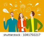 people talking and thinking.... | Shutterstock .eps vector #1081702217