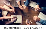 group of people holding hands... | Shutterstock . vector #1081710347