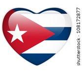 cuba flag heart glossy button | Shutterstock . vector #108172877