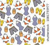 doodle cartoon seamless pattern ...   Shutterstock .eps vector #1081755977