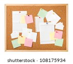 Cork board with notes isolated - stock photo