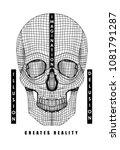 skull hand drawing for t shirt... | Shutterstock .eps vector #1081791287