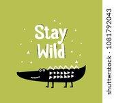 cute cartoon crocodile print.... | Shutterstock .eps vector #1081792043