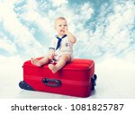 baby travel suitcase  child sit ... | Shutterstock . vector #1081825787