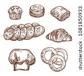 sweet bread bun sketch set of... | Shutterstock .eps vector #1081850933