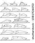 monoline pleasure boats outlines | Shutterstock .eps vector #1081926053