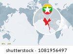 world map centered on america...   Shutterstock .eps vector #1081956497