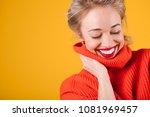 happy blonde woman. beautiful...   Shutterstock . vector #1081969457