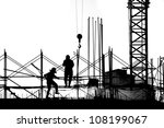 Construction workers and crane seen in outline - stock photo