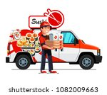 cheerful asian courier man... | Shutterstock .eps vector #1082009663