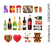 set of presents  sweets ... | Shutterstock .eps vector #1082012693