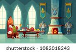 vector castle hall with king... | Shutterstock .eps vector #1082018243