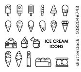 ice cream icons 2d and line... | Shutterstock .eps vector #1082046743