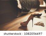 bedroom mess with lingerie ... | Shutterstock . vector #1082056697