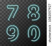 bright blue realistic neon... | Shutterstock . vector #1082057927