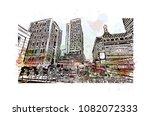 landmark building with street... | Shutterstock .eps vector #1082072333