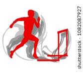 hurdling man race vector... | Shutterstock .eps vector #1082087927