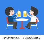 two business man drinking beer... | Shutterstock .eps vector #1082088857