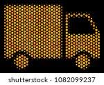 halftone hexagon shipment van... | Shutterstock .eps vector #1082099237