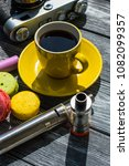 still life with e cig and jiuce ... | Shutterstock . vector #1082099357