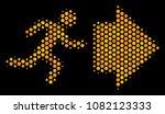 halftone hexagon exit direction ... | Shutterstock .eps vector #1082123333