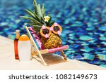 ripe attractive girl pineapple... | Shutterstock . vector #1082149673
