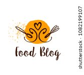 food blog logo with spoon and... | Shutterstock .eps vector #1082199107