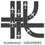 plane traffic on runway on...   Shutterstock .eps vector #1082208083